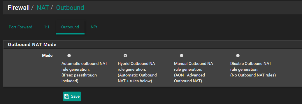 Enable NAT Hybrid Rules in pfSense